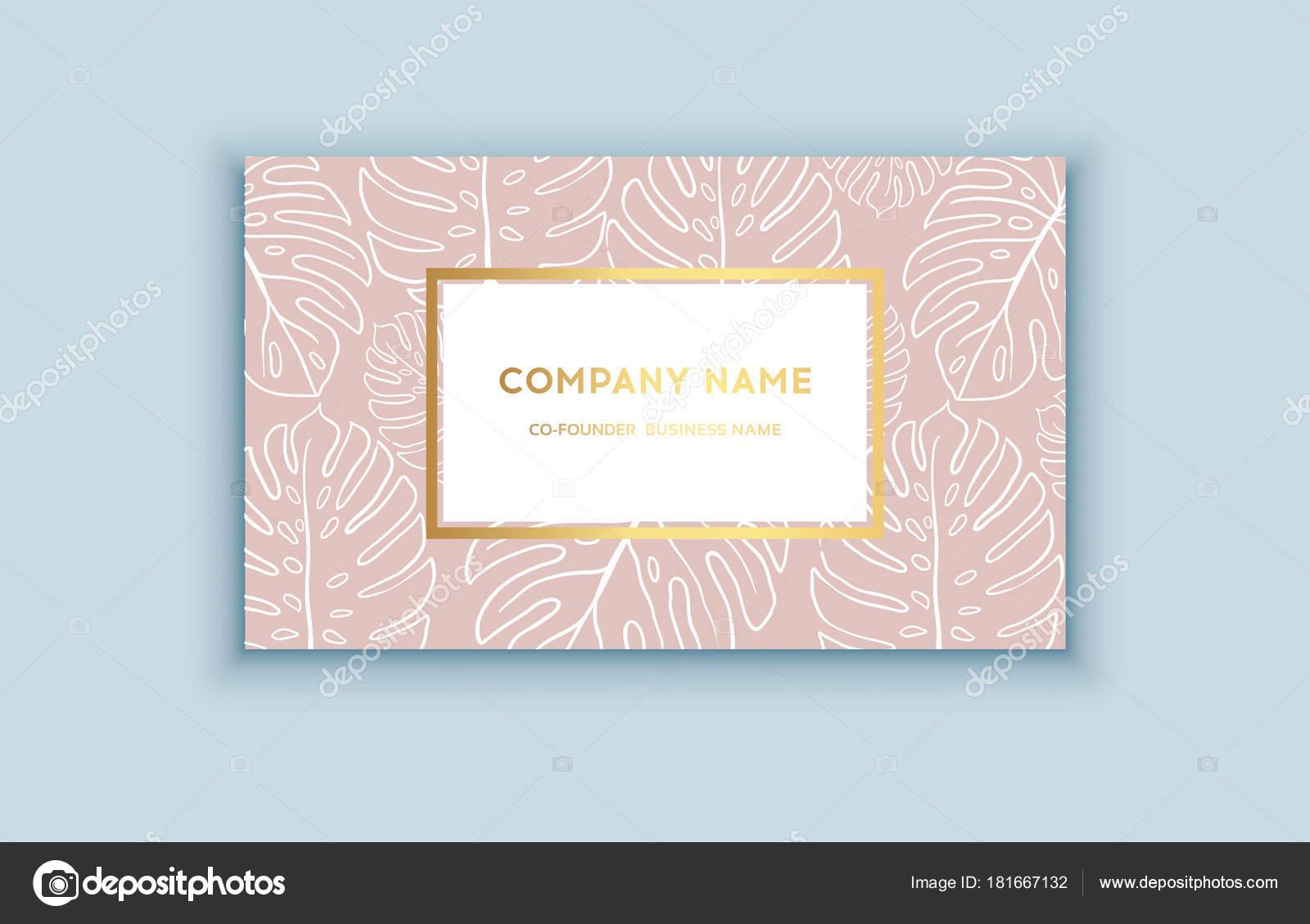 Vektor Tropischen Rosa Und Gold Visitenkarte Exotische