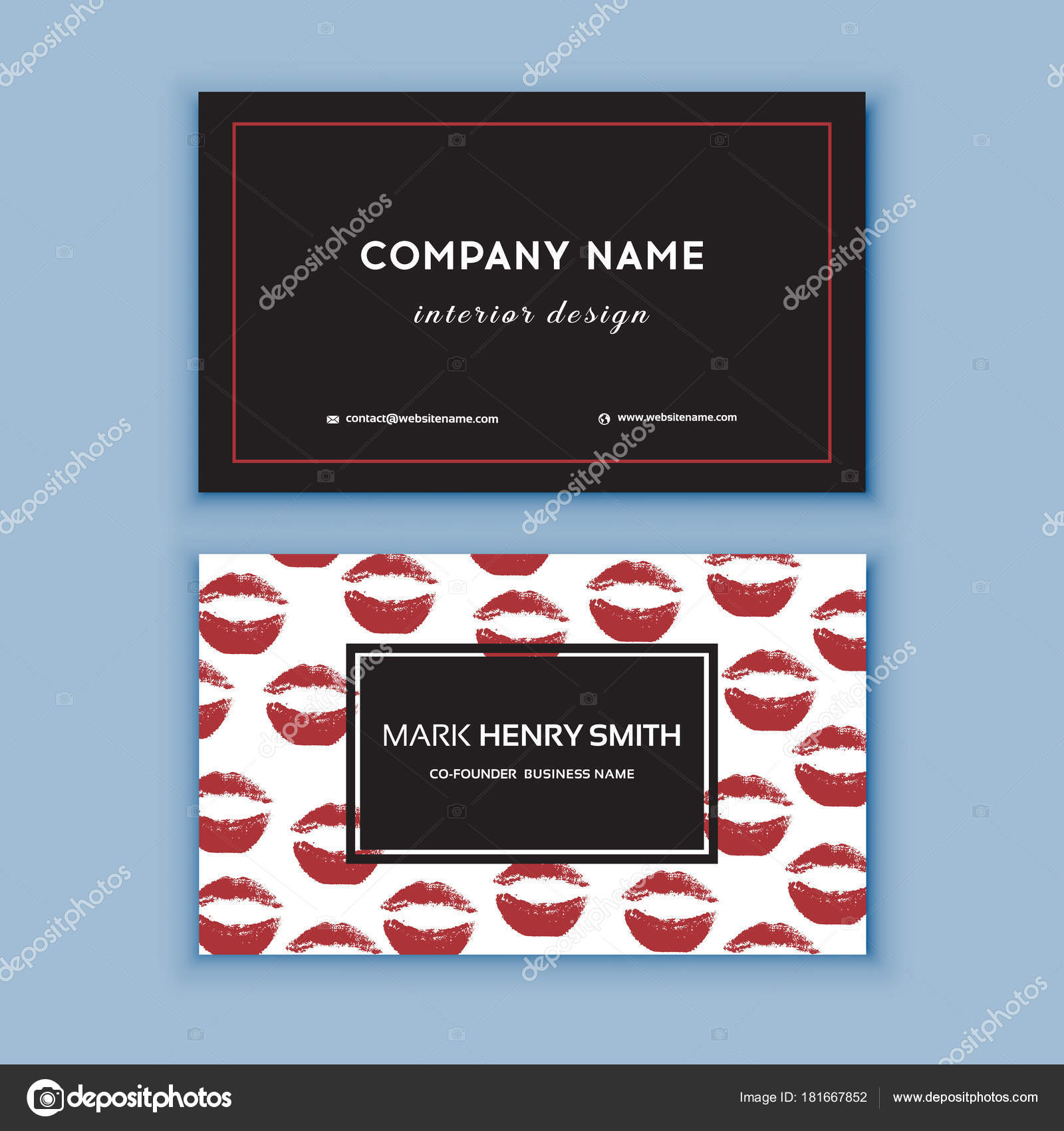 Black And Red Design Business Card With Lips Abstract Modern