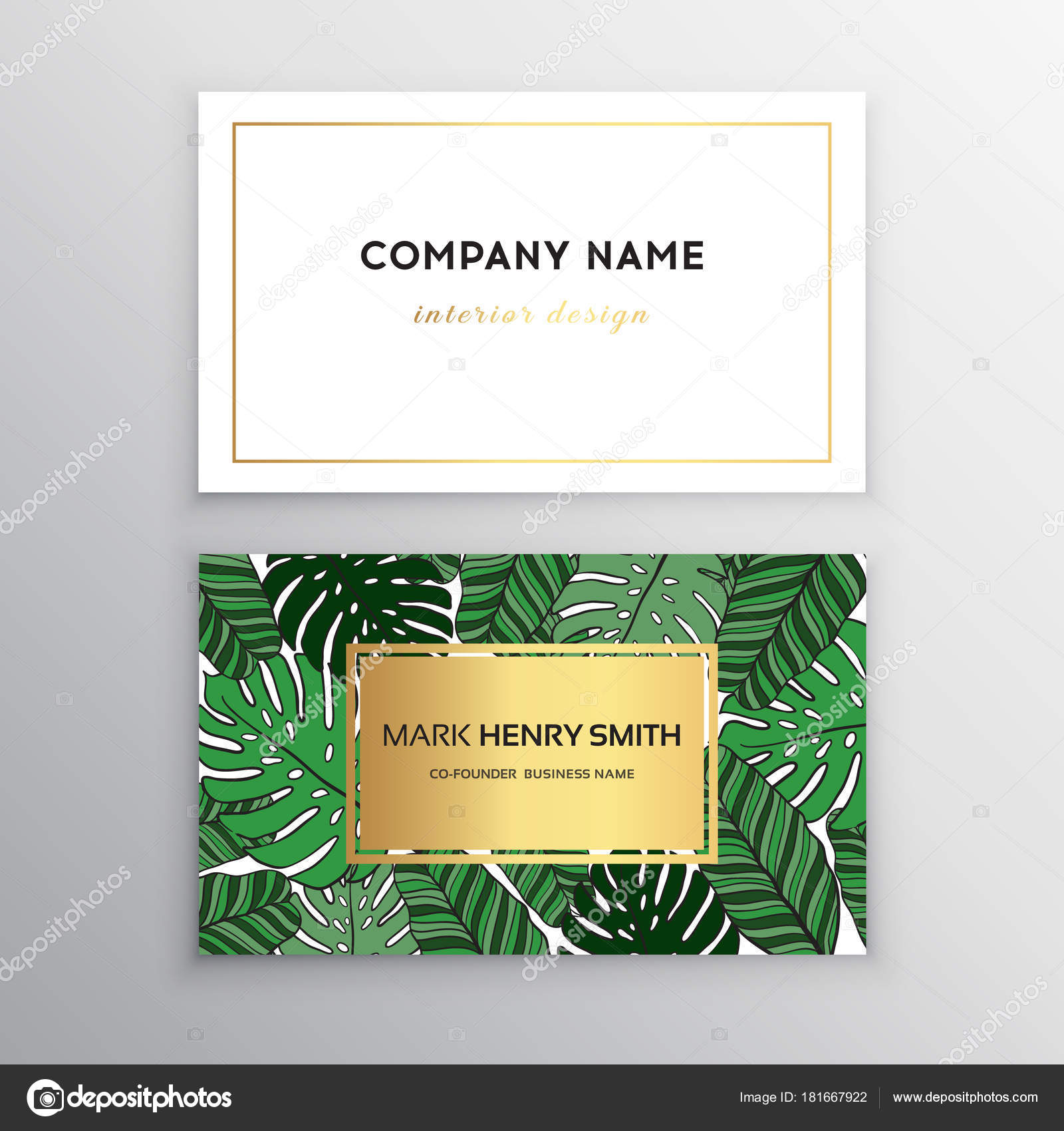 business cards gold and colorful design tropical leaf vector illustration corporate identity templates in tropical style vector by mila1717