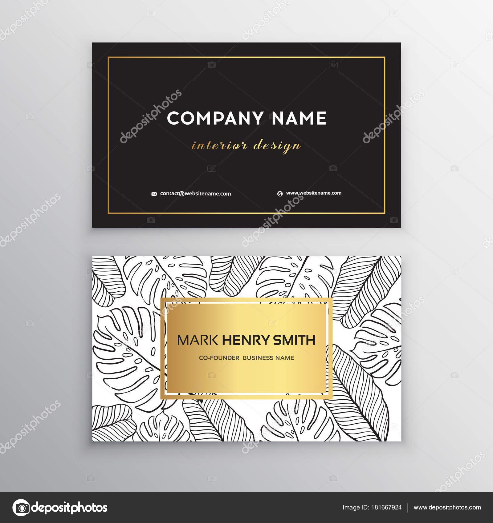 Business cards gold design, tropical leaf. Vector illustration ...