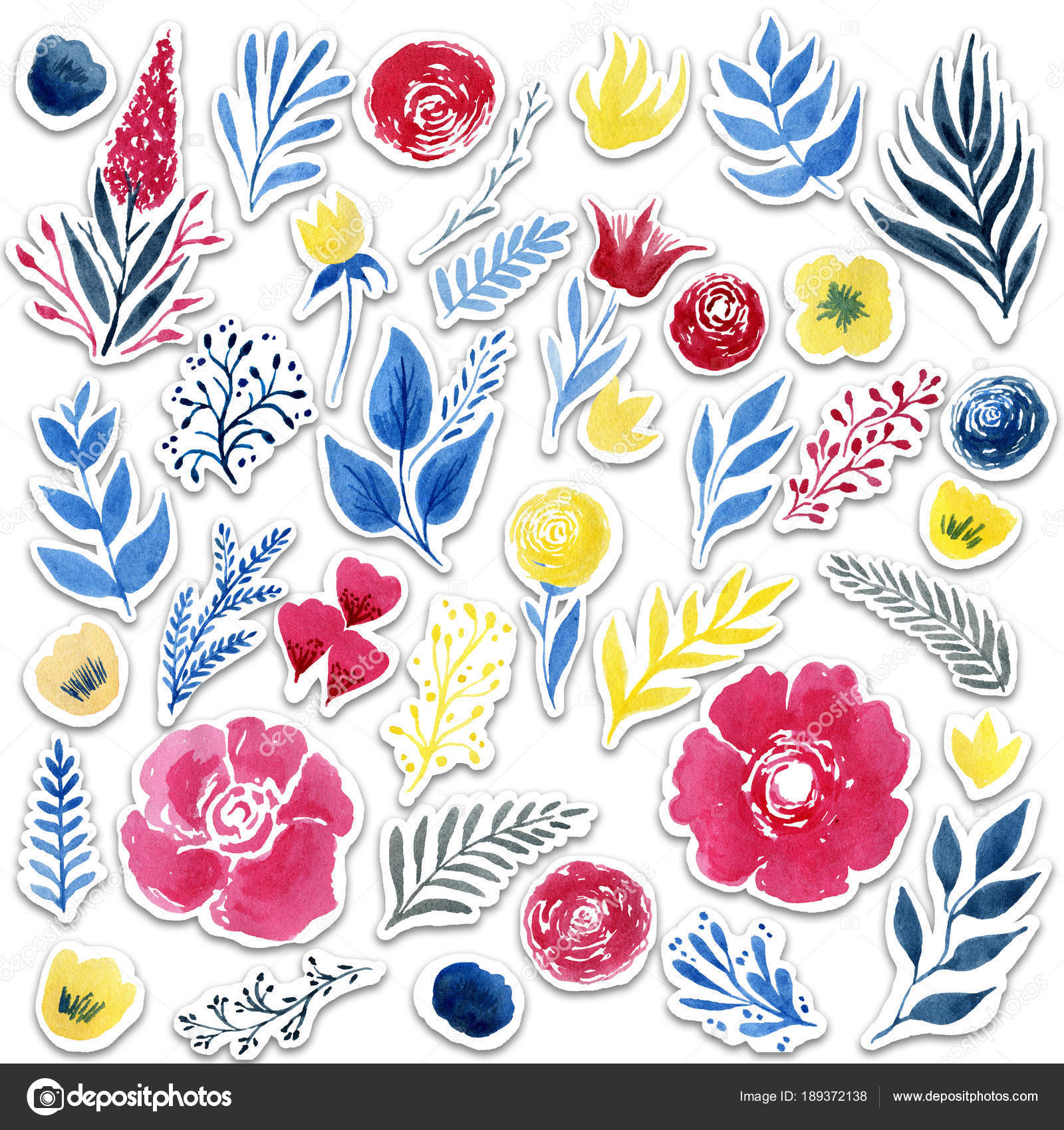 beautiful watercolor flower stickers set over white background for