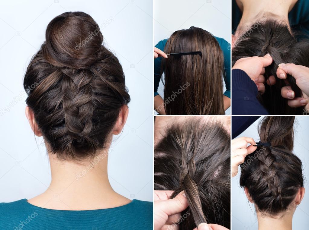 Tutorial de peinado trenza de pan foto de stock - Tutorial de peinados ...