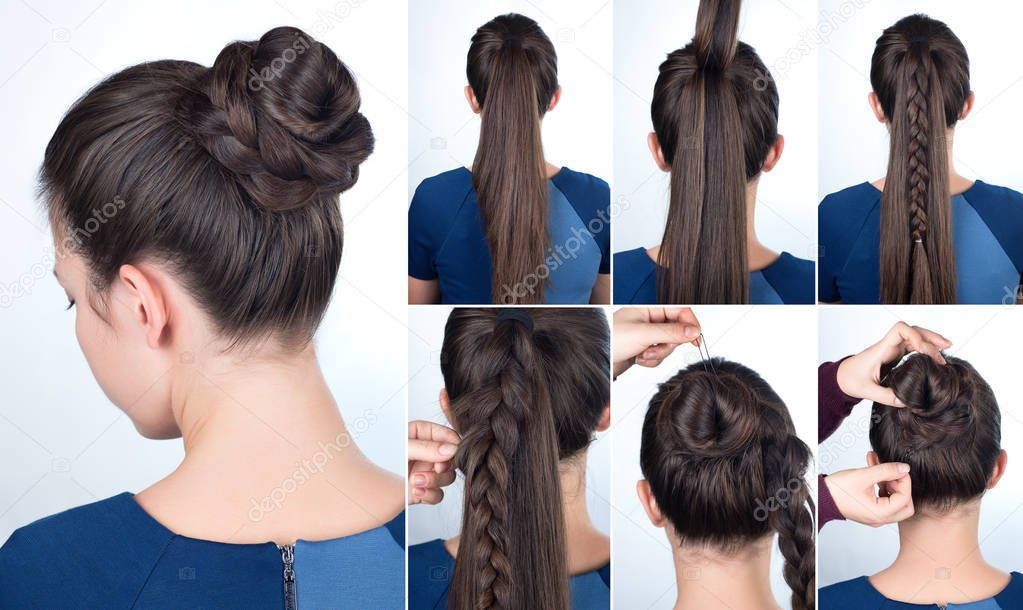 Hairstyle Tutorial Bun With Plait Stock Photo Alterphoto 129636186