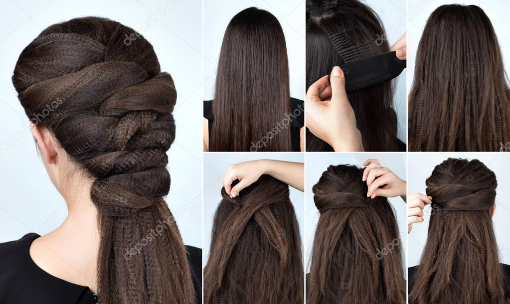 Hairstyle With Curly Hair Tutorial Stock Photo Alterphoto 129799754