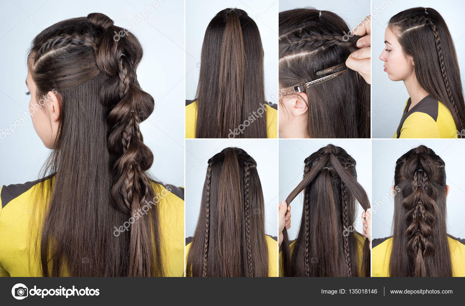 Hairstyle Plait For Party Tutorial Stock Photo Alterphoto 135018146