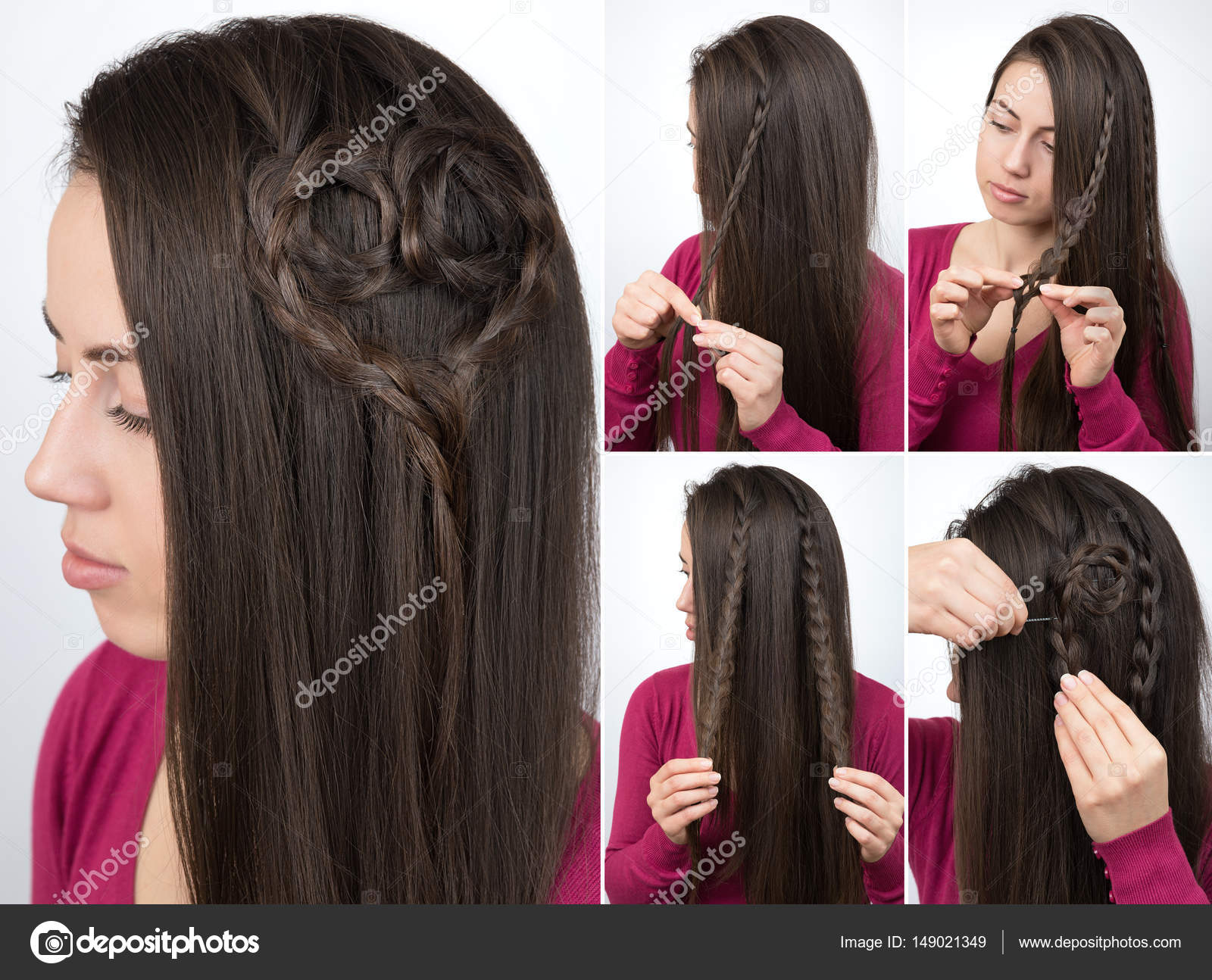 Hairstyle Braided Heart Tutorial Stock Photo Alterphoto 149021349