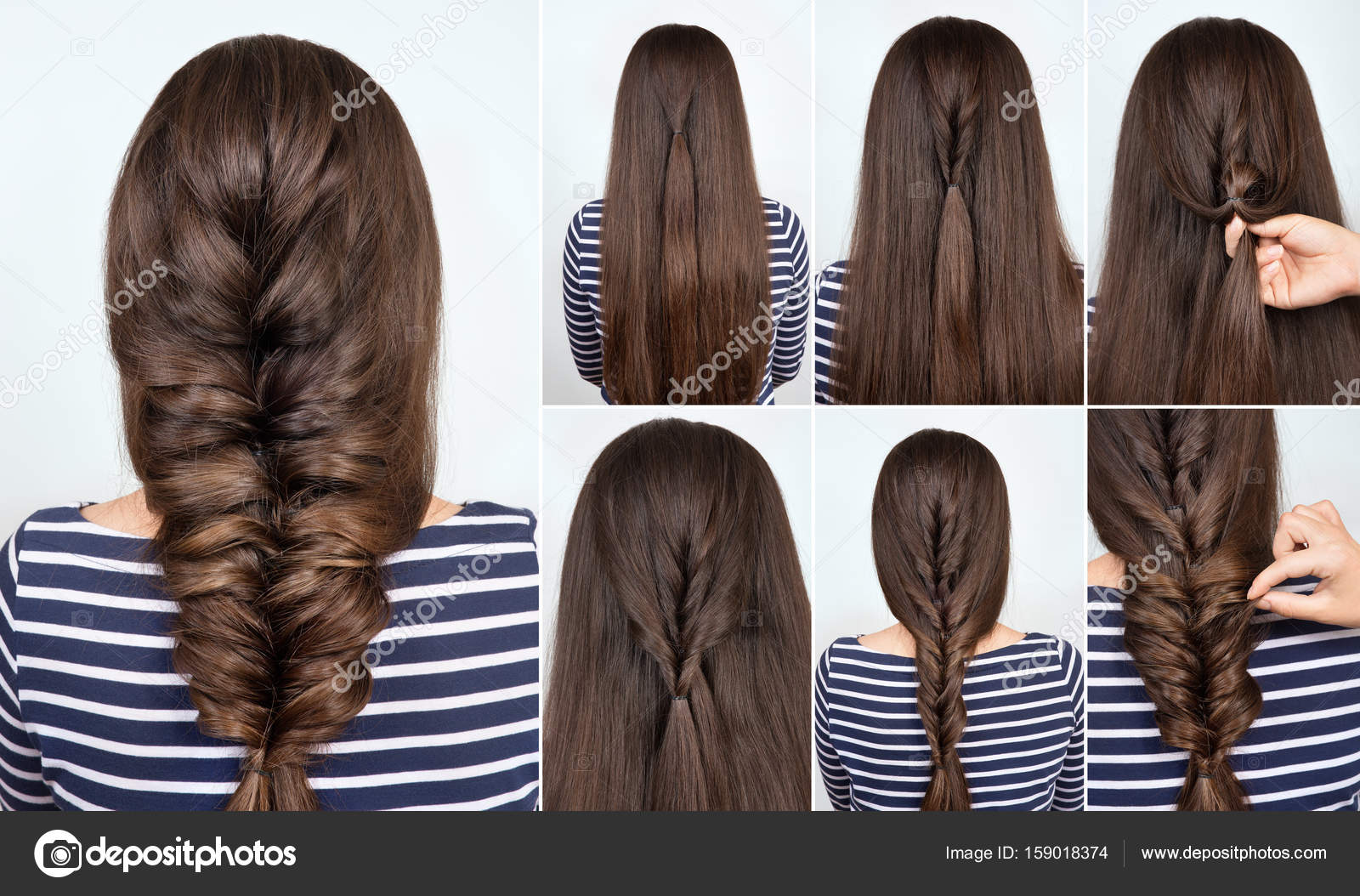 Hairstyle Braid For Party Tutorial Stock Photo Alterphoto 159018374
