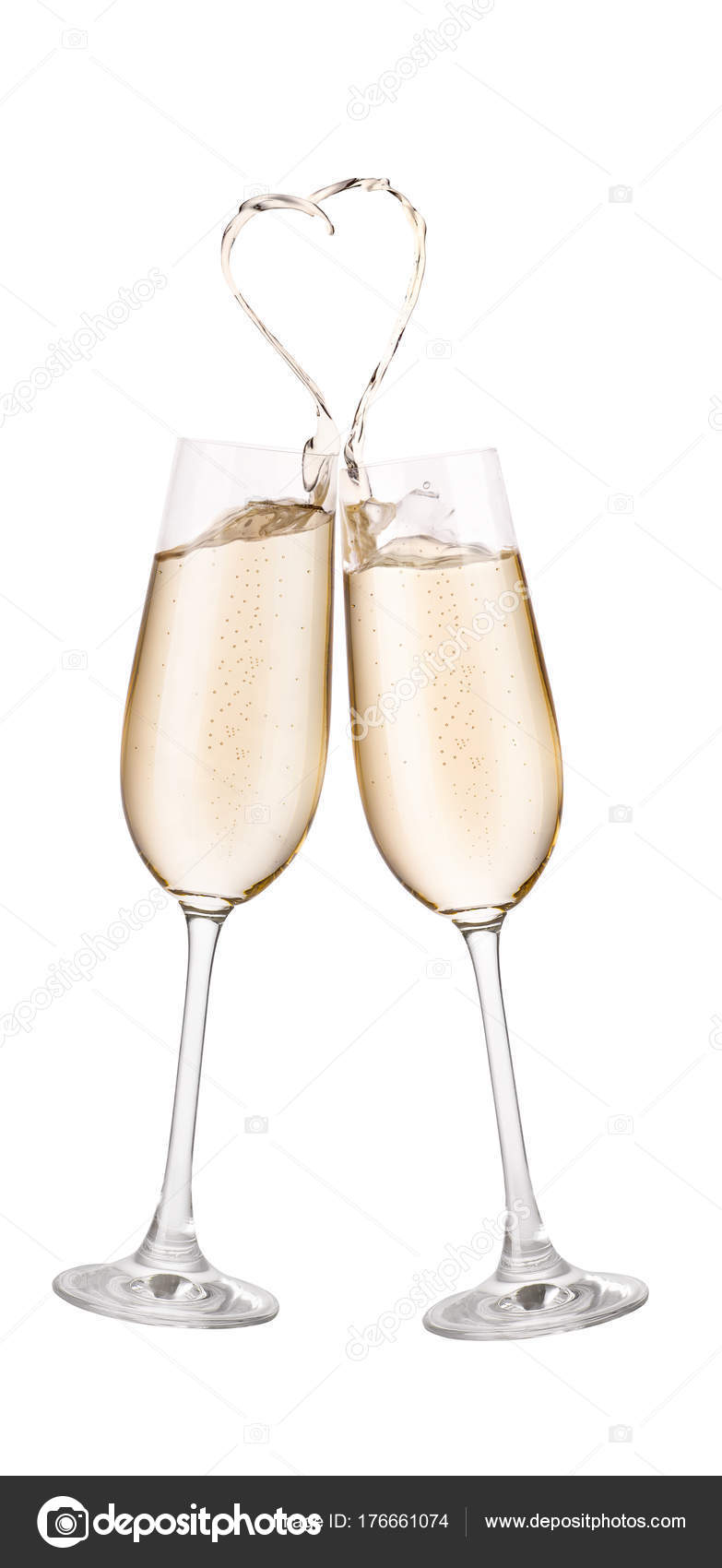 bb793fdb7a1a Glasses of champagne toasting isolated on white background. Splash in the  shape of heart. Cheers. Pair of champagne glasses making toast.