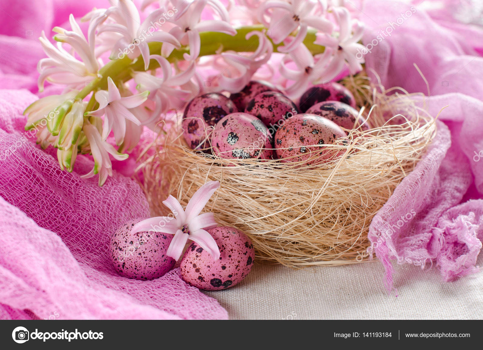 Easter eggs in a nest on a light pink or white — Stock Photo ...