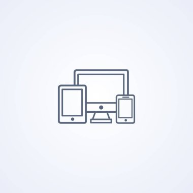 Computer and gadgets, vector best gray line icon on white background, EPS 10