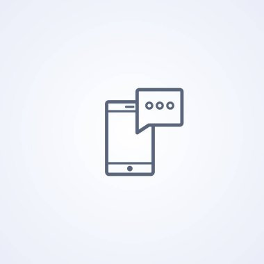 Mobile notifications, vector best gray line icon on white background, EPS 10