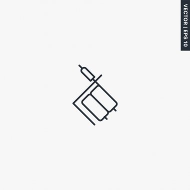 Tattoo machine doodle, linear style sign for mobile concept and web design. Symbol, logo illustration. Pixel perfect vector graphics icon