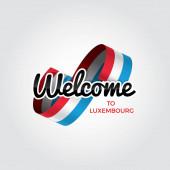 willkommen zu luxemburgischem Symbol mit Flagge, einfaches modernes Logo auf weißem Hintergrund, Vektorillustration