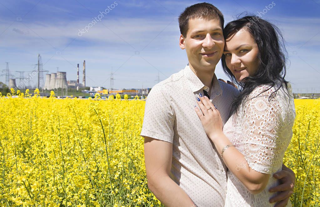 wo happiness people on the yellow field and blue sky