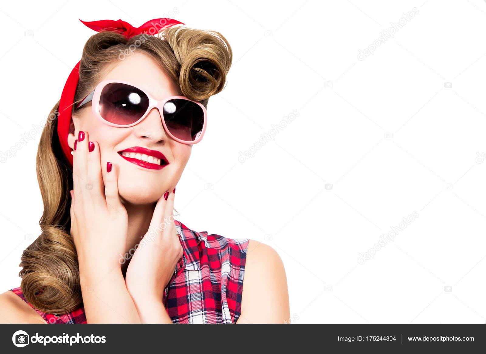 De Chica Sol Up Fondo Sobre En Usando Estilo Pin Feliz Gafas Blanco 8nONPwk0X