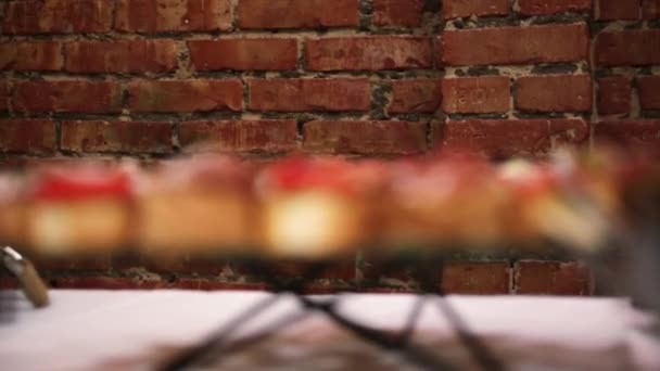 sandwiches on the banquet table. From defocus to focus