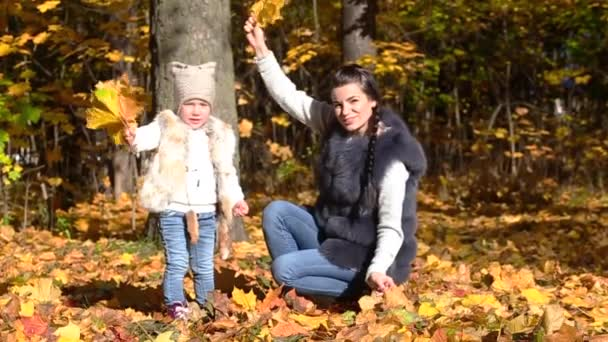 Mom and daughter in the autumn park. They look at the camera, wave a bouquet of autumn leaves and hug. Slow motion video