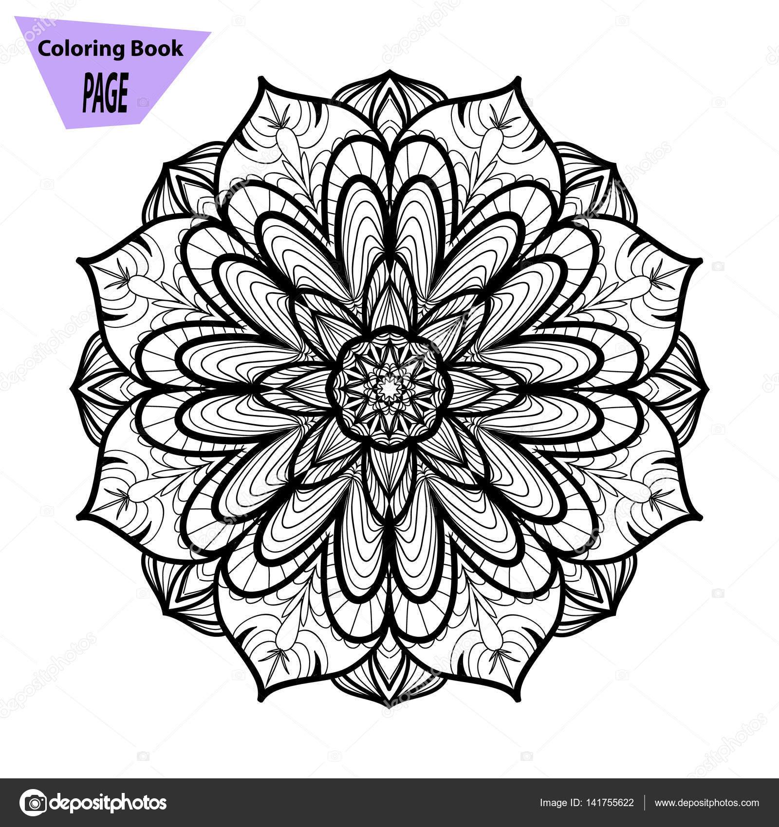 Mandala Boyama Sayfası Vintage Dekoratif öğeler Oryantal Desen