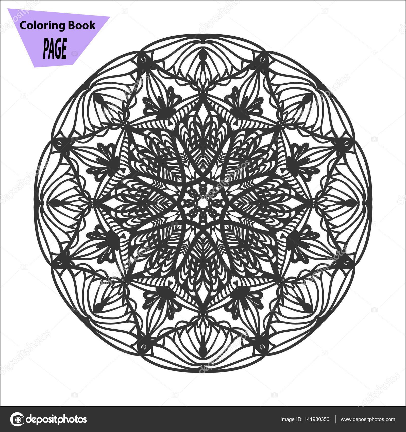 Mandala. Malvorlagen. Vintage Deko-Elemente. Orientalische Muster ...