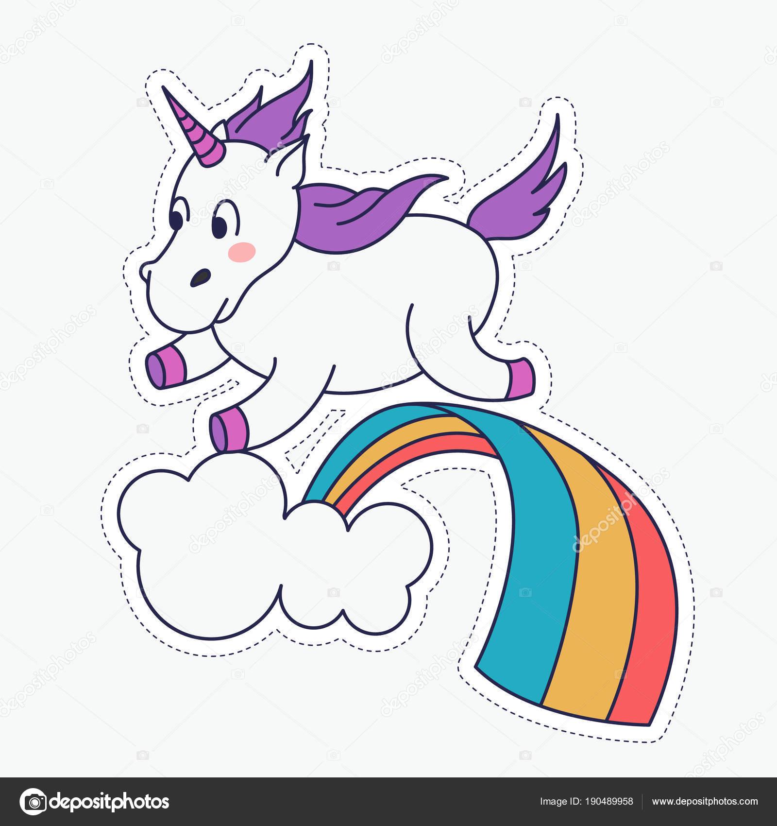 Disegni Arcobaleno Per Bambini Unicorno Magico Sveglio E