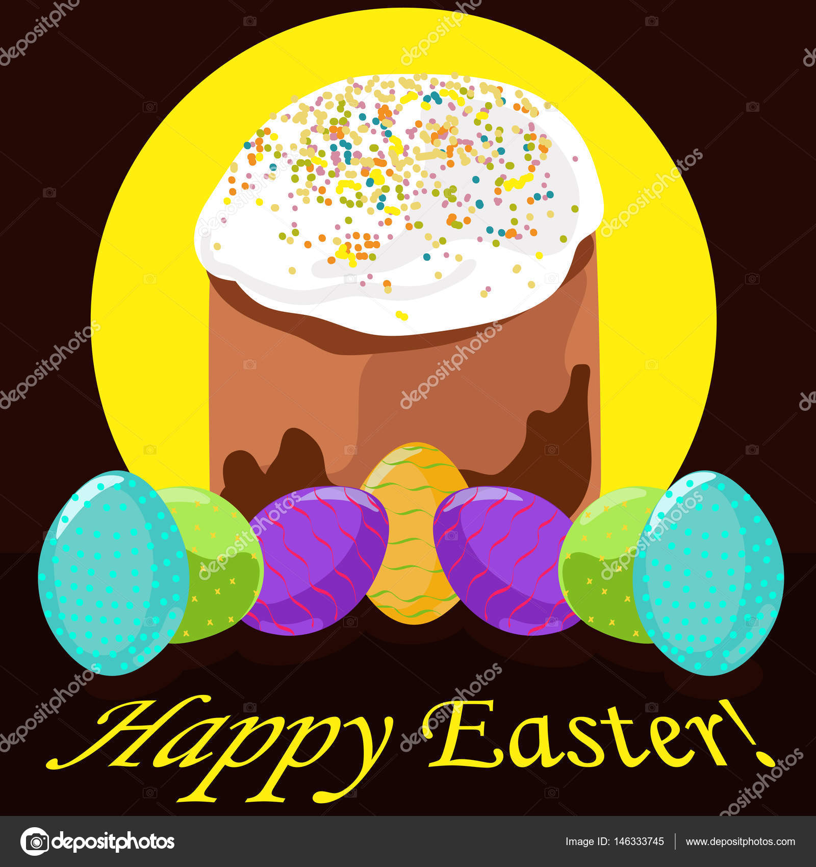 Print Greeting Card With Easter Cake Eggs And The Words Happy