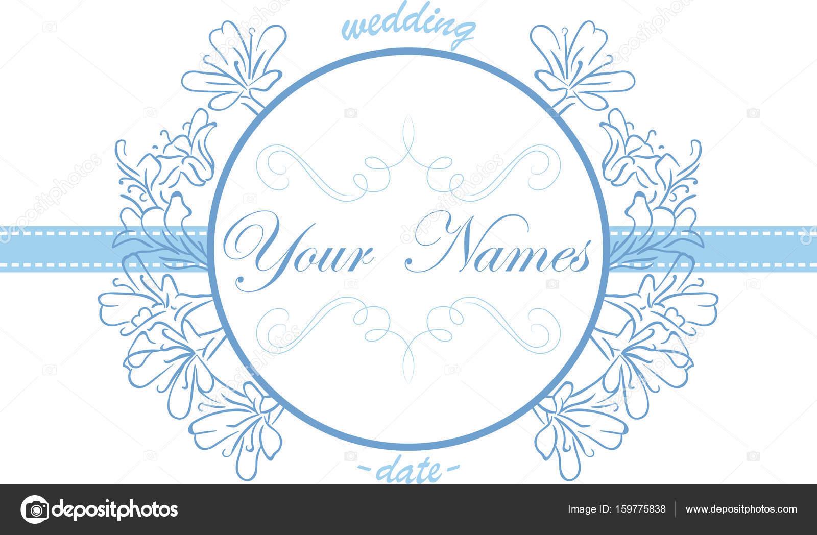 Hochzeit Einladung Zart Blau Jahrgang Ornament Rahmen Mit