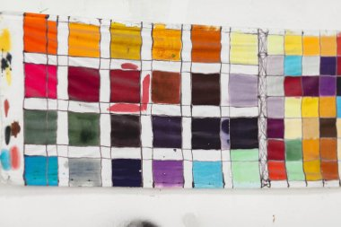color palette. the table of shades of paints on fabric. color schemes at art school. range of colors.