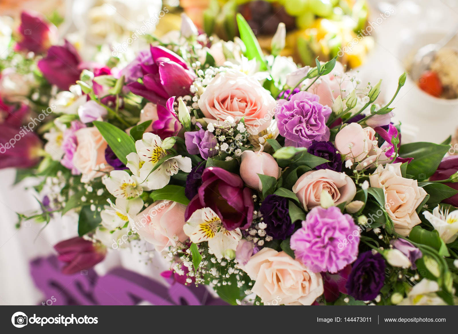 Flower Composition On A Table Wedding Decor Beautiful Bouquet From