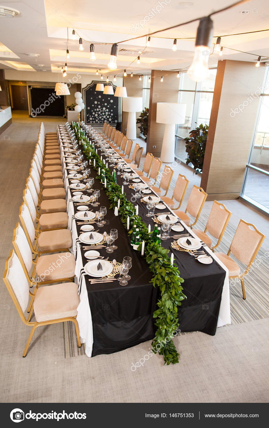 Wedding Decor, Interior. Concept Of Festive Table Decor. Table Layout.  Restaurant Interior