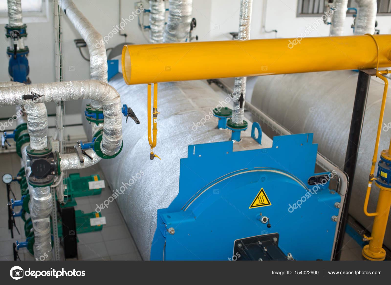 Modern boiler room equipment- high power boiler burner. Water ...