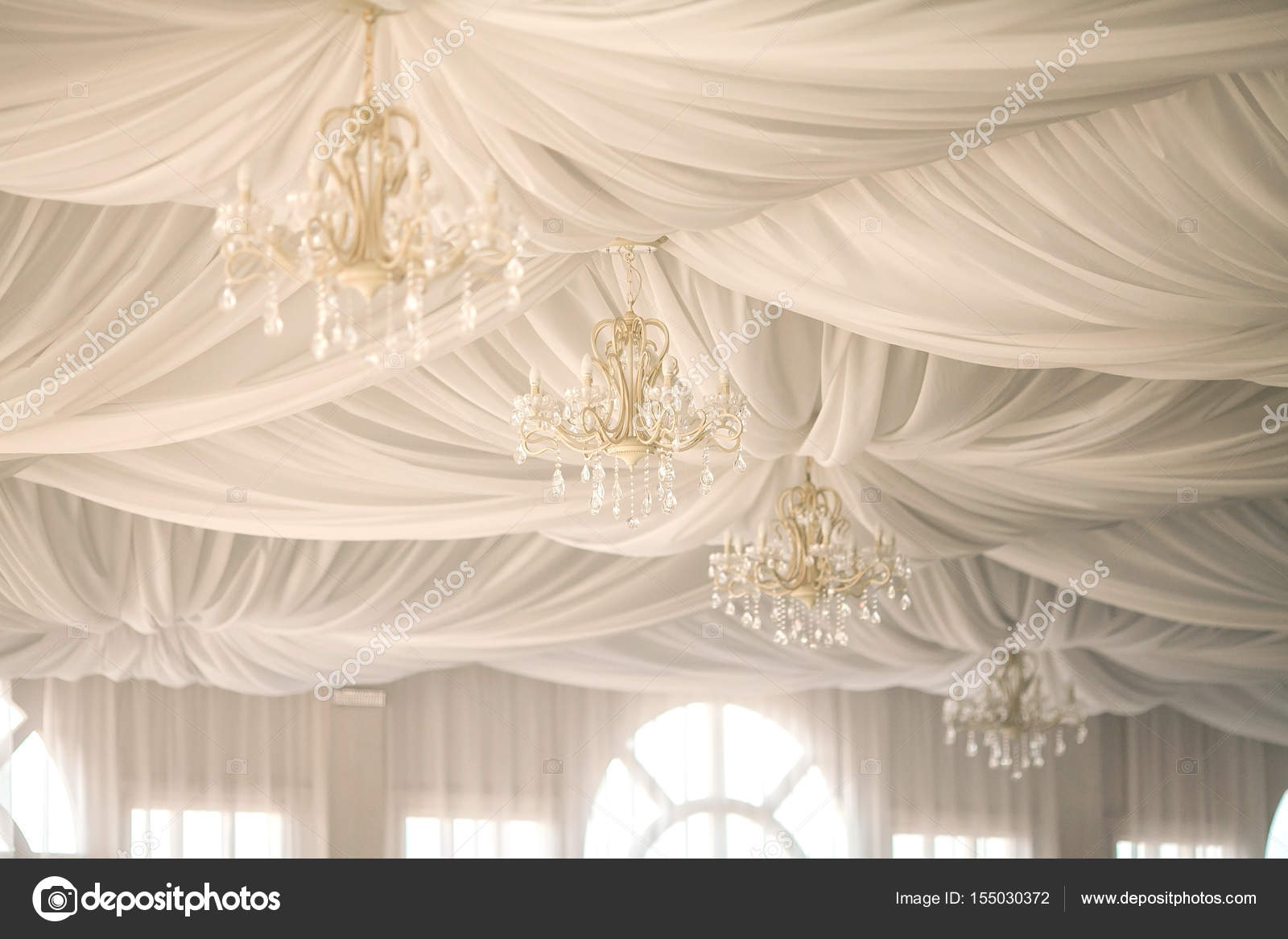 Pictures Hanging Fabric From Ceiling In Bedroom Chandeliers On A Ceiling Decorated By The Draped White Fabrics A Wedding Decor In A White Tent Stock Photo C Melnikofd Yandex Ru 155030372