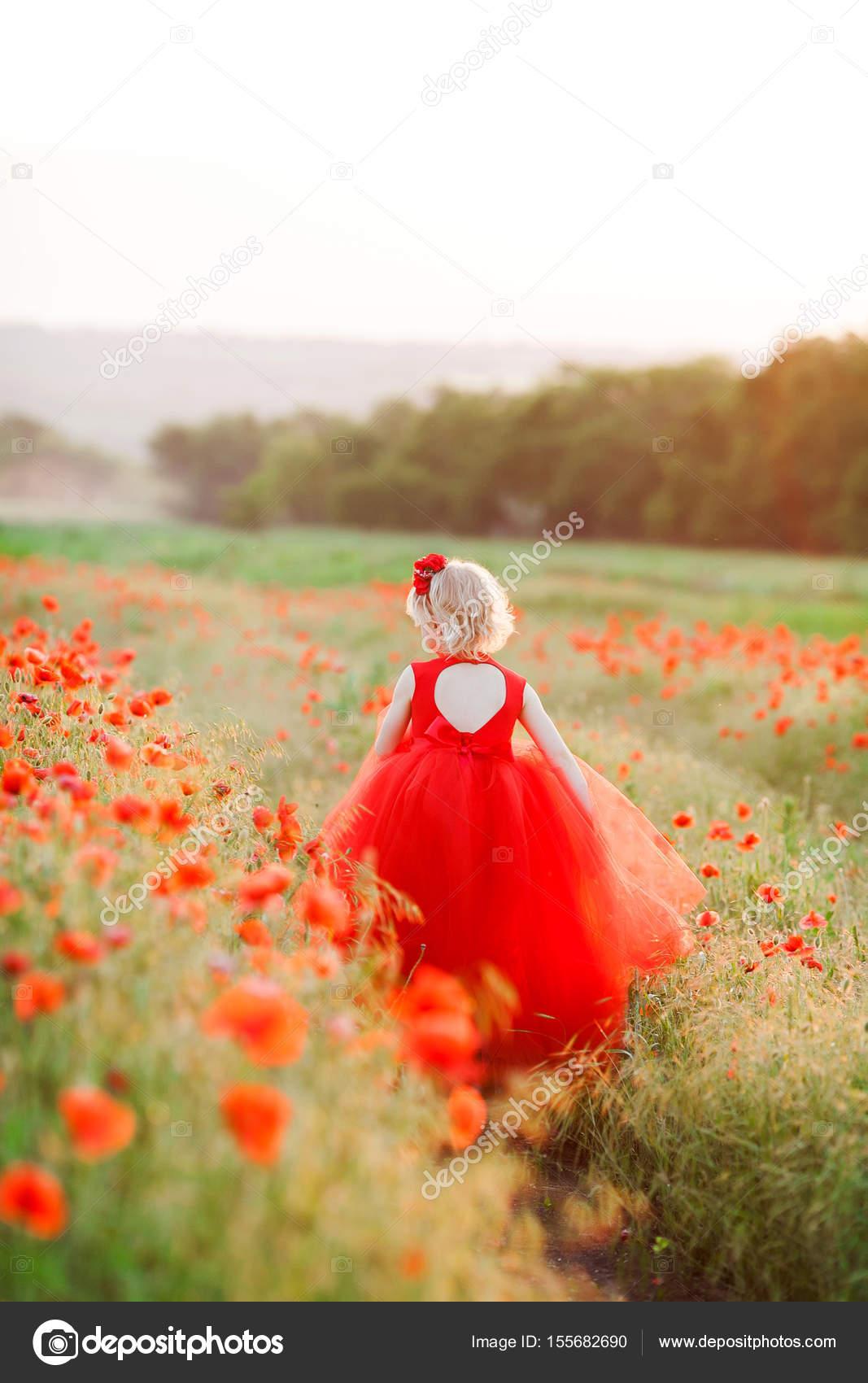 5d6a03b33d Vidéken, a gyermekkor, ünnepek, nyári koncepció - kis szőke tündér gyönyörű  scarlet buzis ruha, tüll szoknya, rohant a mező Pipacsok — Fotó szerzőtől  ...