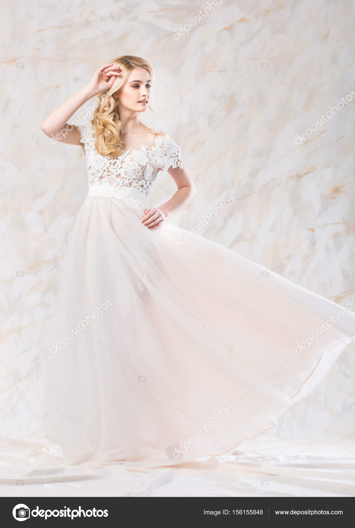 fashionable wedding dress, beautiful blonde, bride hairstyle and ...
