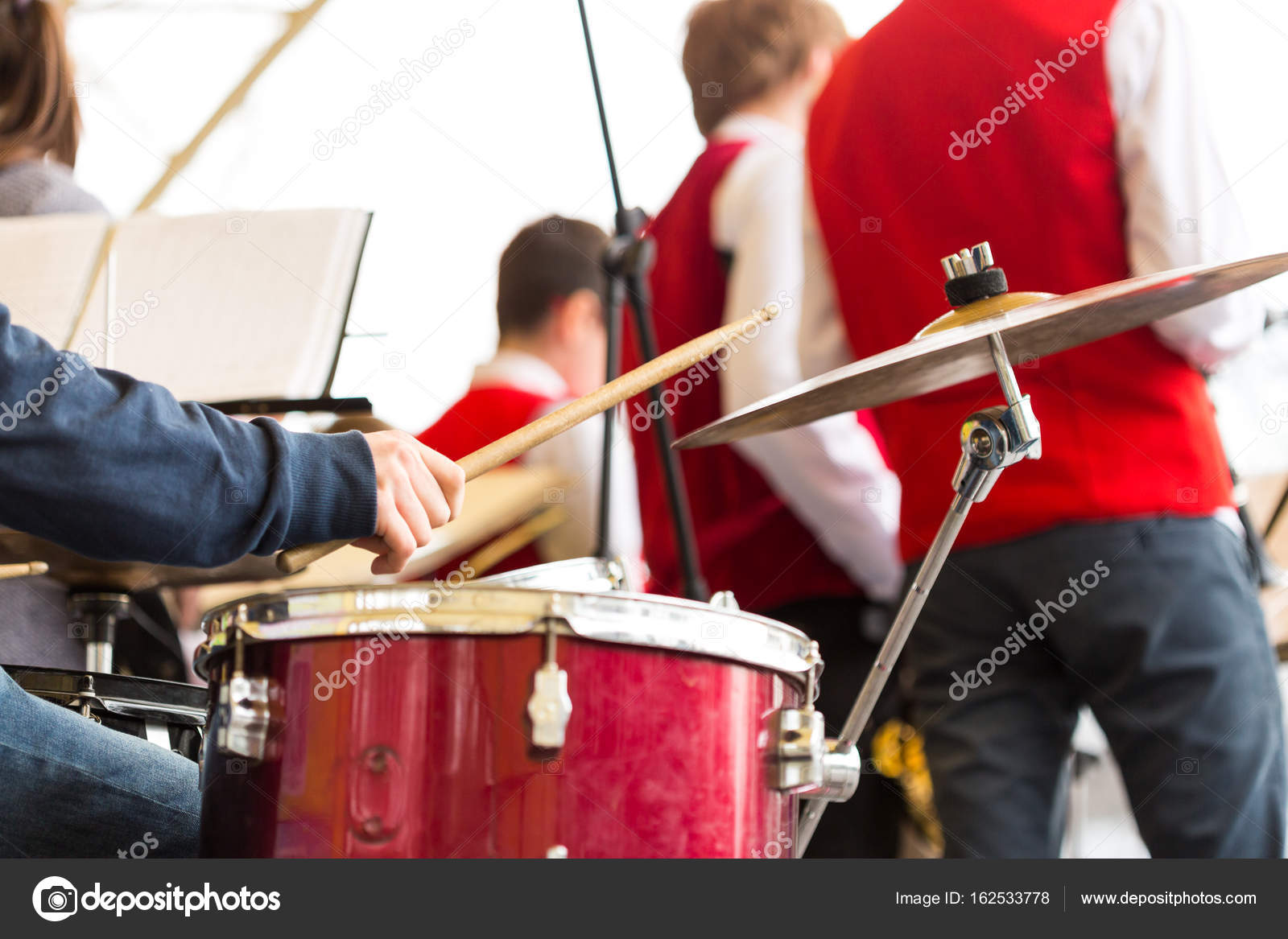 Drum Kit Jazz Band Music Concept Closeup On Hand Of Musician
