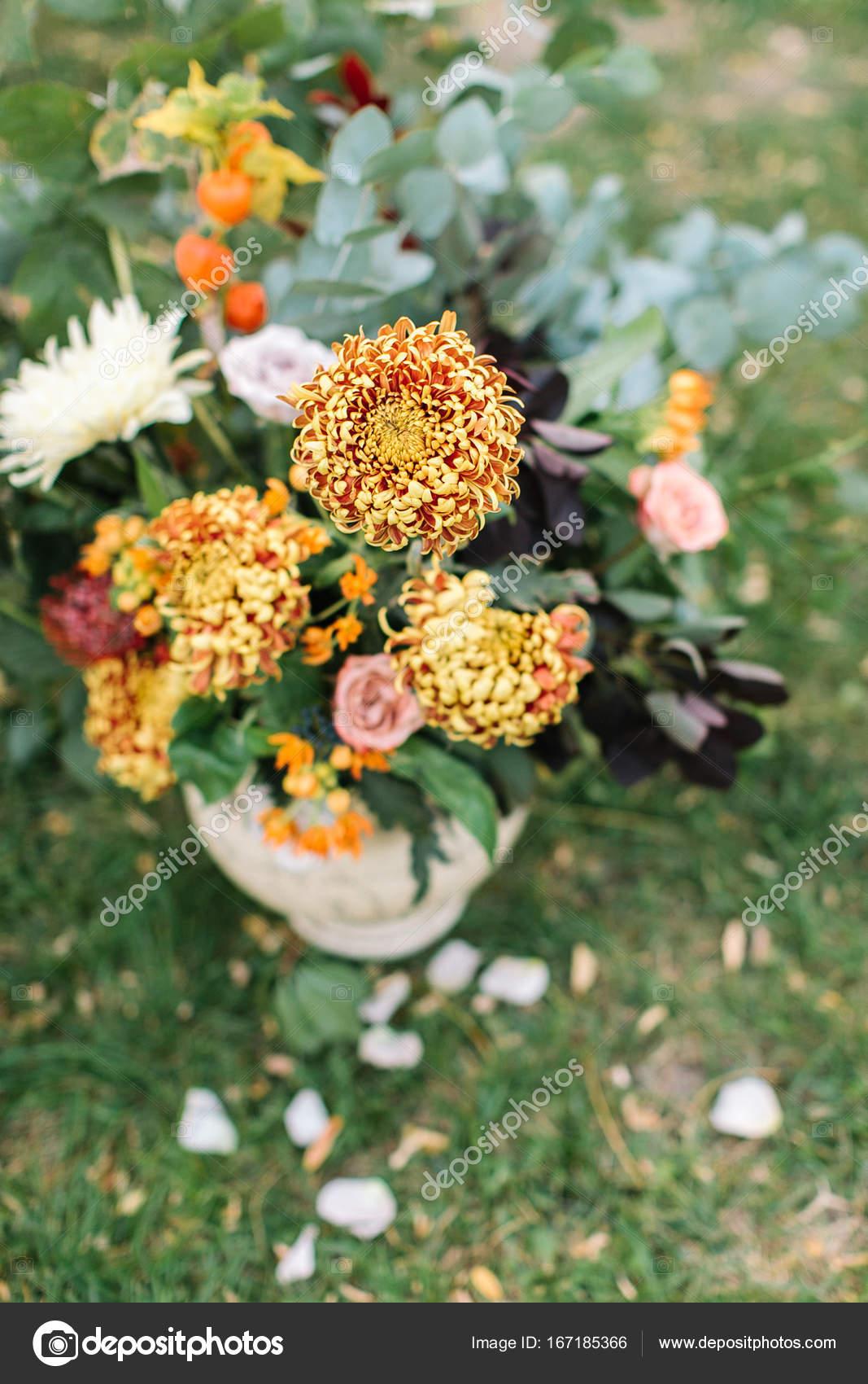 Floristische Hochzeit Party Deko Konzept Nahaufnahme Von Hellen