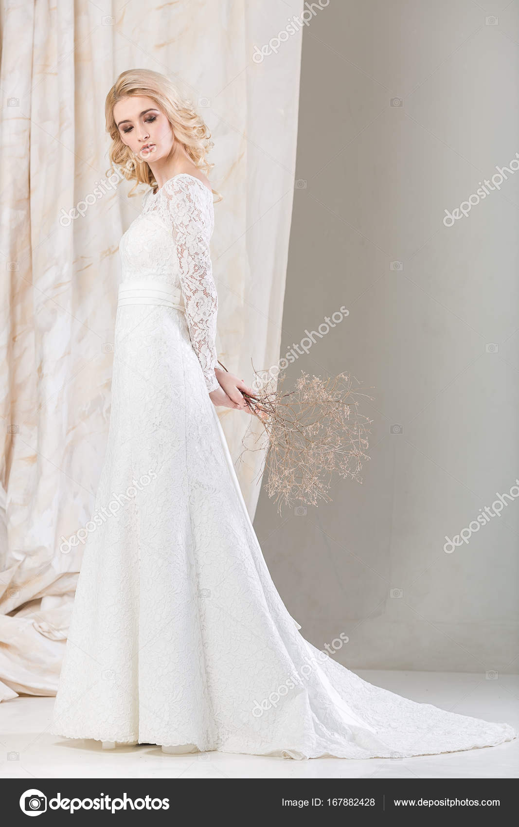 fashionable dress, beautiful blonde model, bride hairstyle and ...