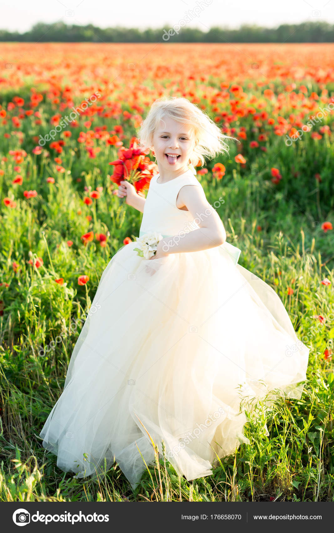 Mädchen-Modell, Mohn, Hochzeit, Mode, Kinder, Natur und Sommer ...