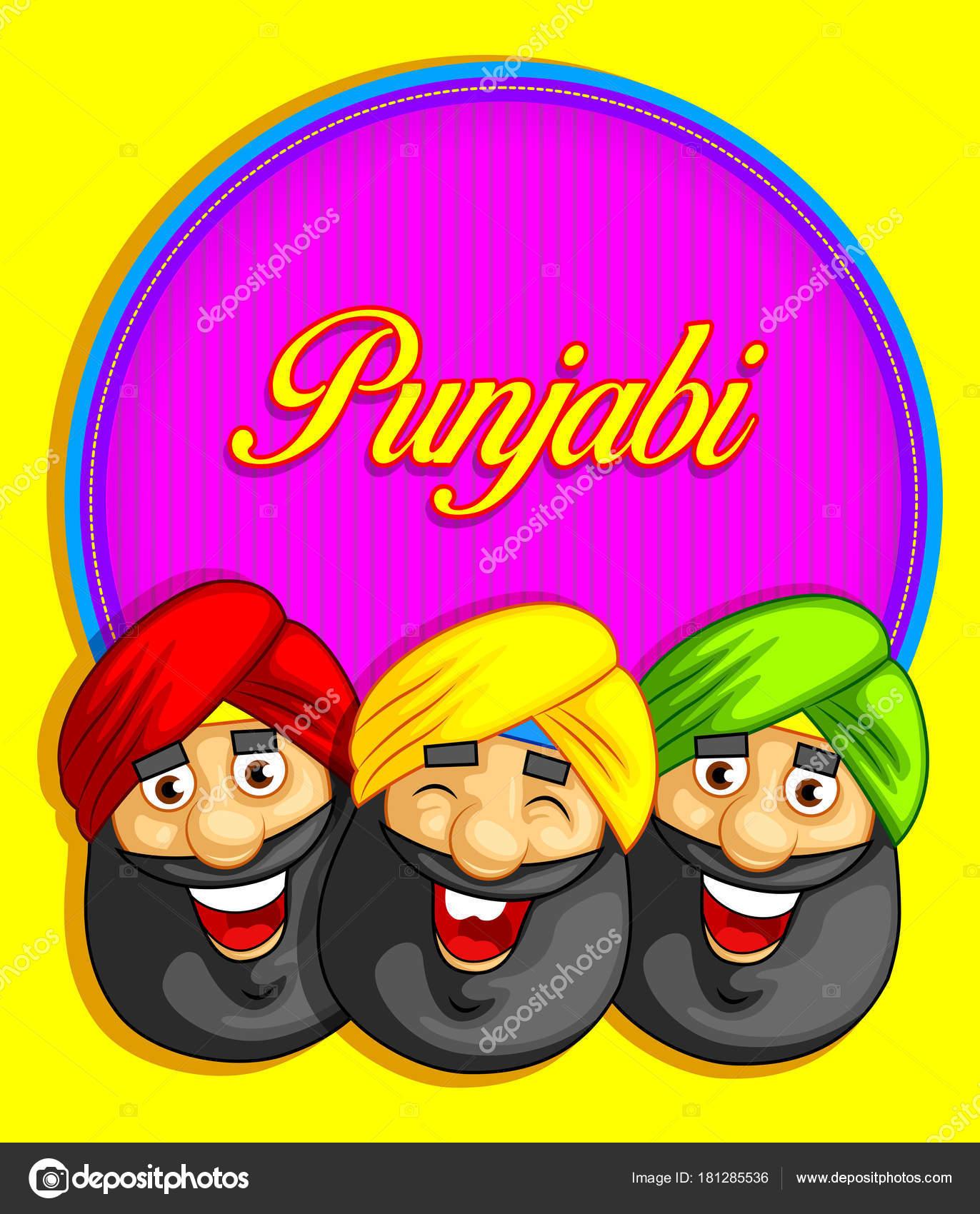 Estilo Dibujos Animados Ilustración Carácter Punjabi — Archivo ...