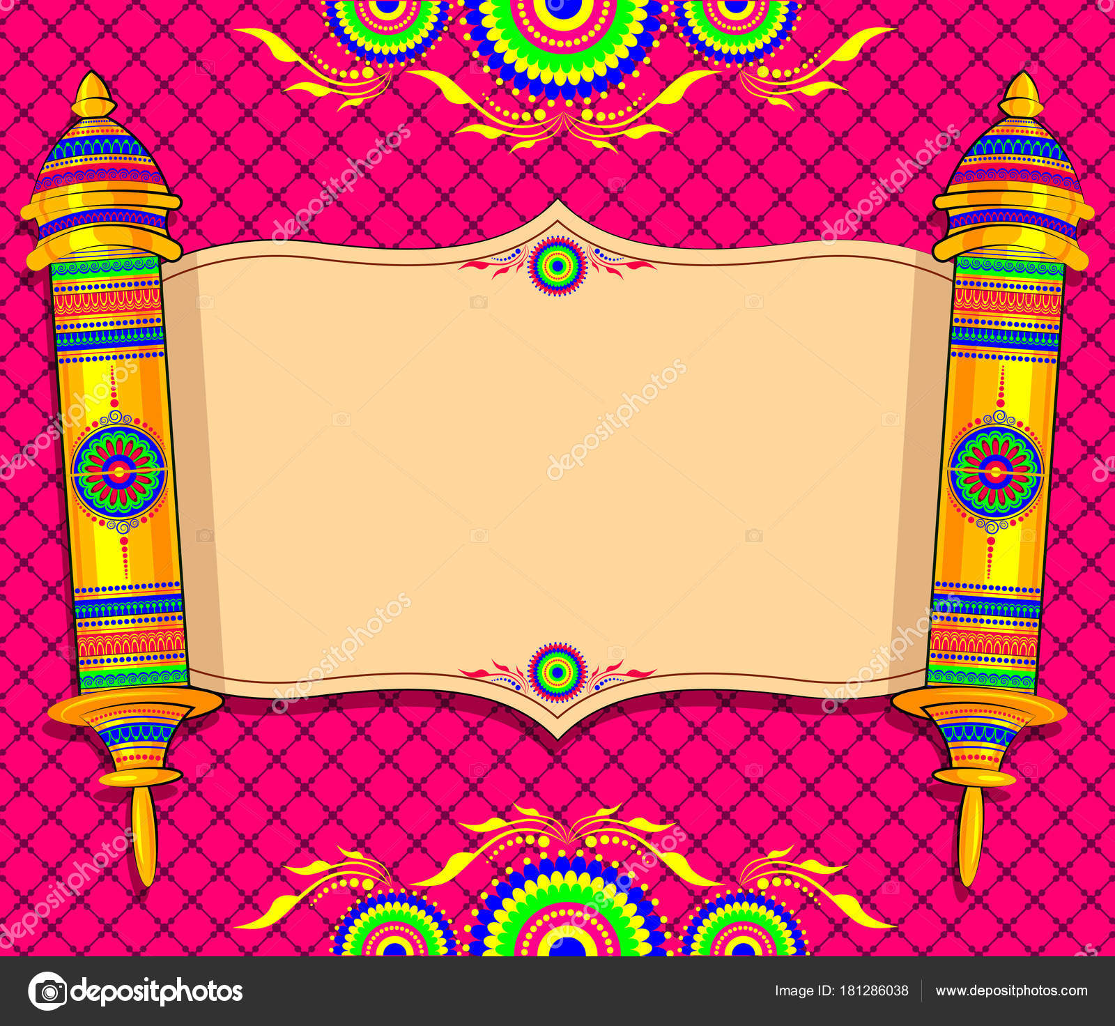 Design Indian Marriage Invitation Cards Stock Vector