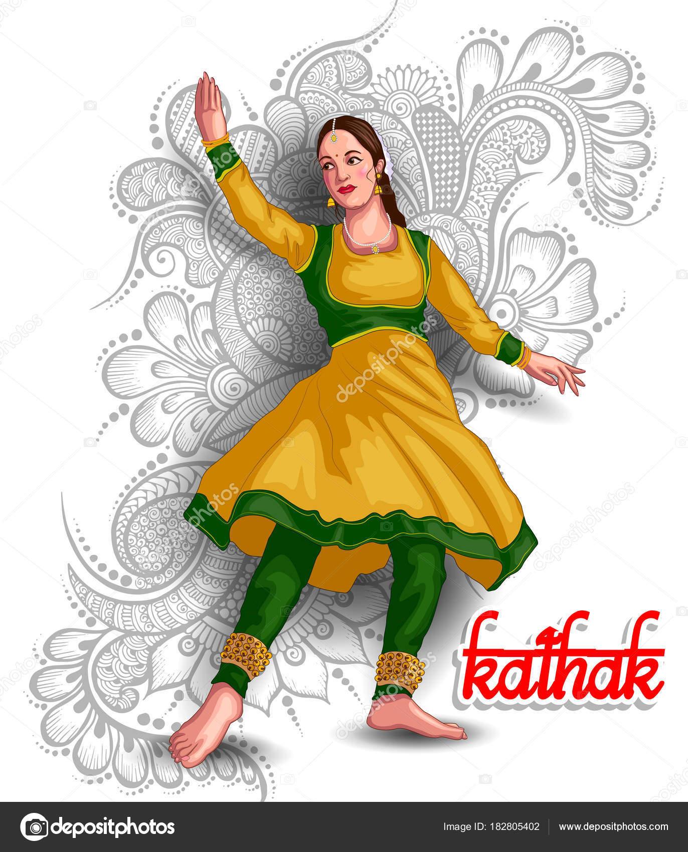 Illustration Indian Kathak Dance Form Stock Vector C Colorbolt 182805402