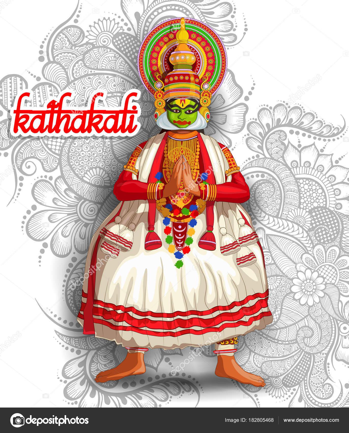 Illustration Indian Kathakali Dance Form — Stock Vector