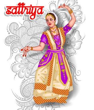 illustration of Indian sattriya dance form