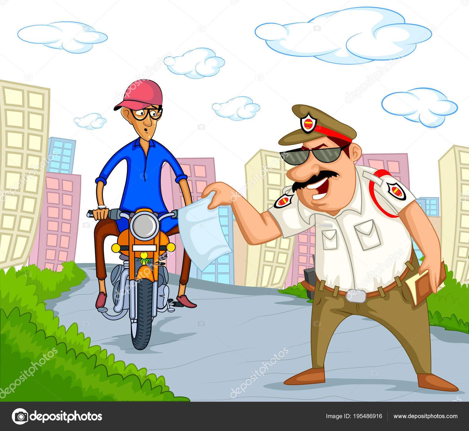 Indien Verkehrs Polizei Vektor Illustration — Stockvektor ...