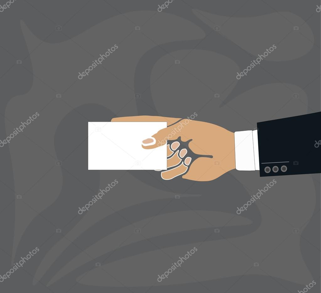 hand holding blank plain white business card design mockup stock vector