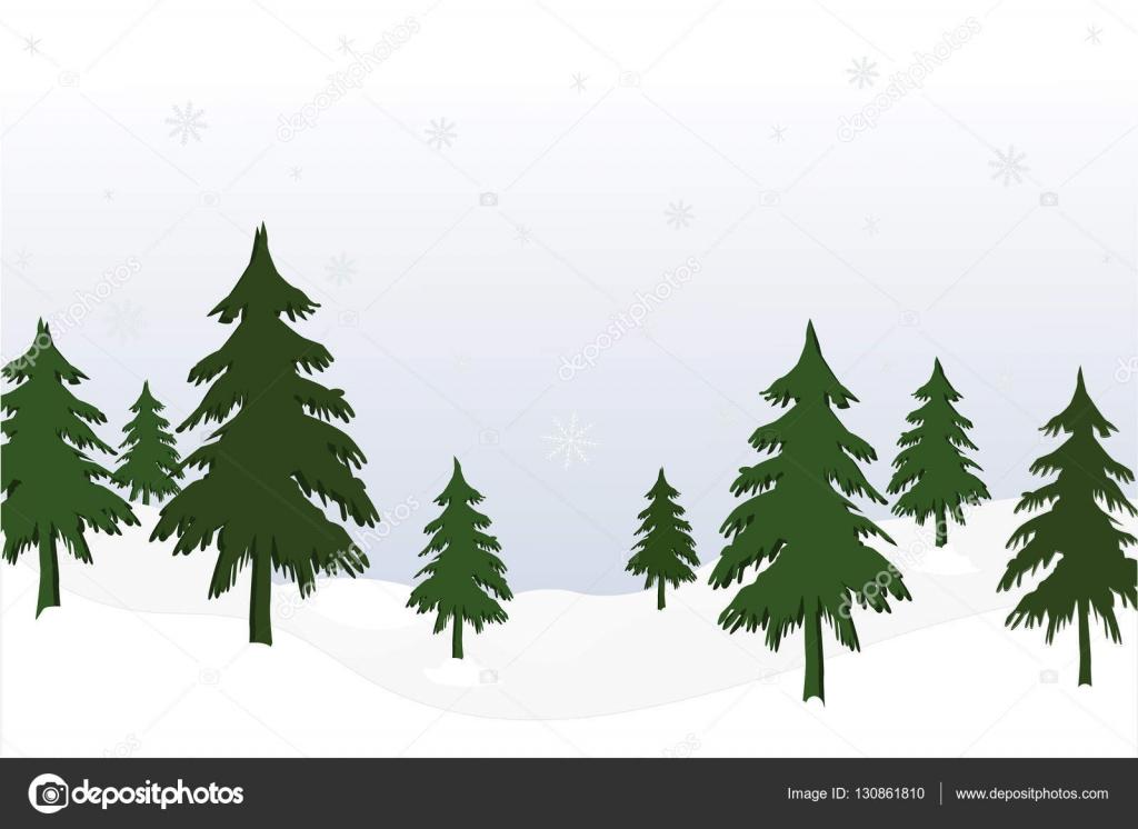 モミの木の森の背景のある風景手描きの背景イラスト ストック