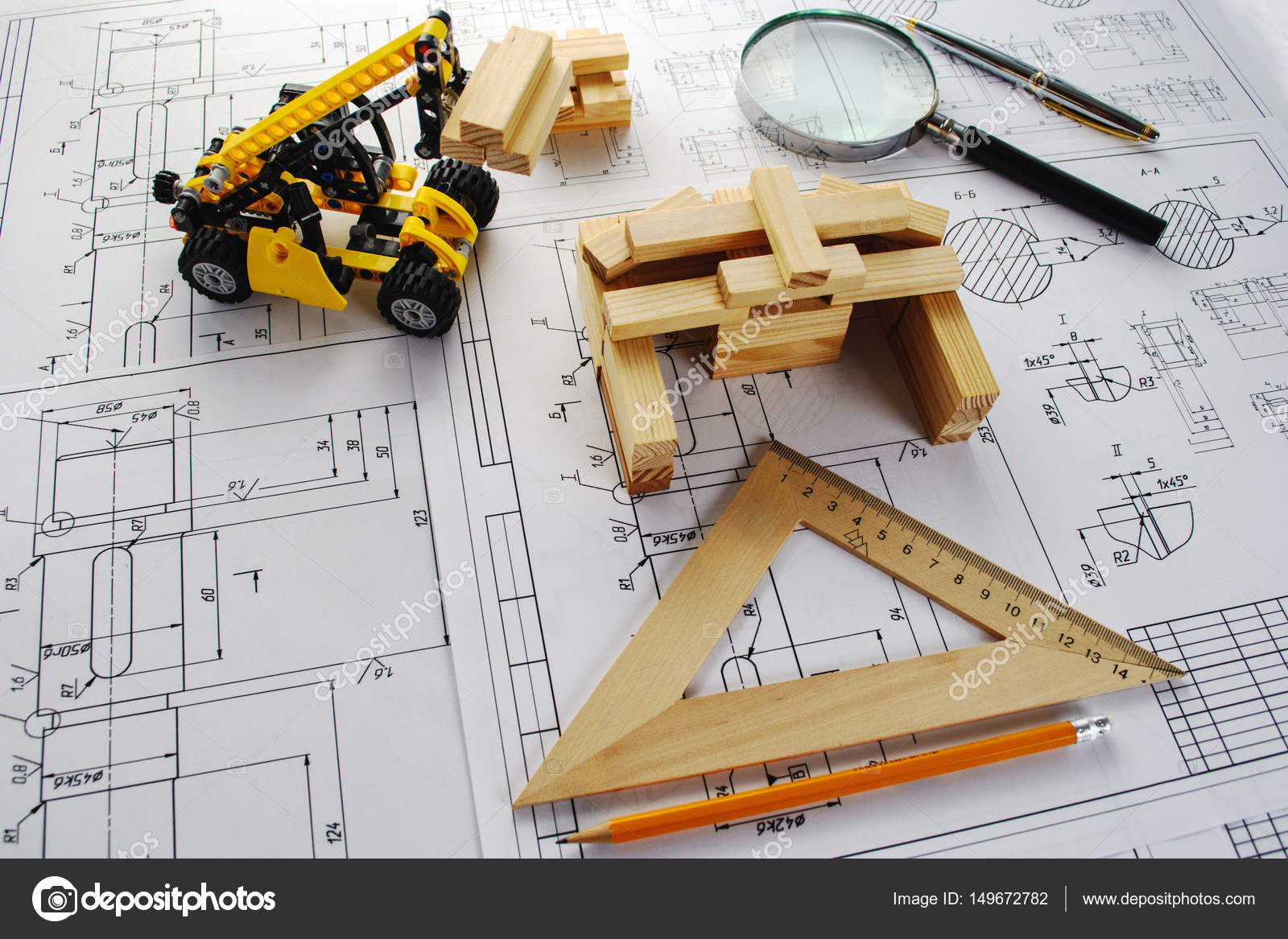 Engineering drawing equipment, paper, ruler and pencil — Stock Photo ...