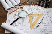Fényképek Műszaki rajz eszközök, papír, vonalzó és ceruza