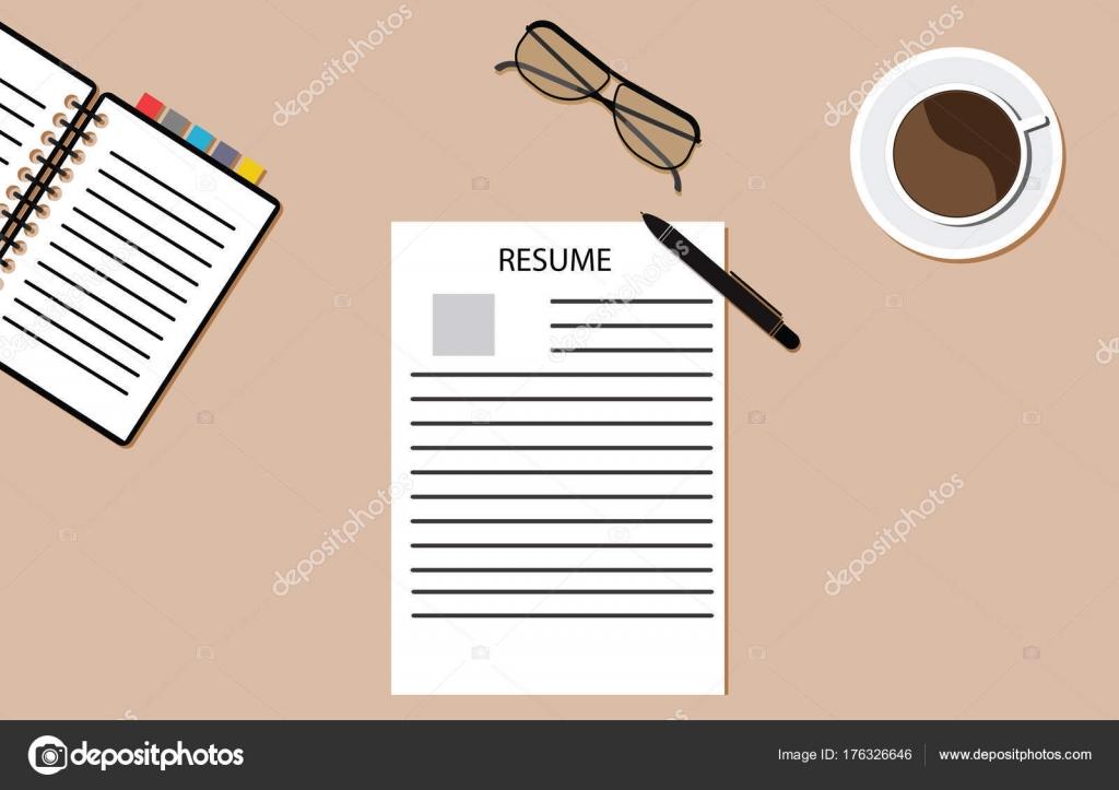 Writing Resume Glasses Block Pen Paper Coffee Desk Stock Vector