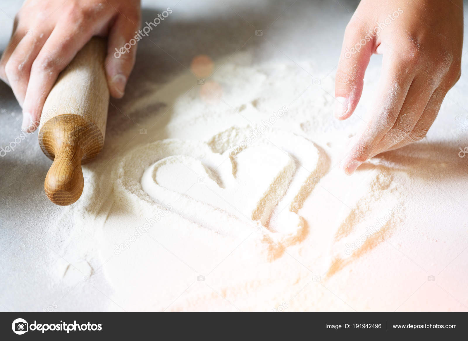 Heart of flour  Baking background with rolling pin, eggs, milk