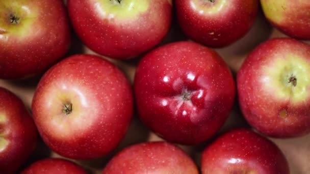 Čerstvé červené jablka na rotujícím pozadí. Horní pohled. Vegan a syrové potraviny koncept.